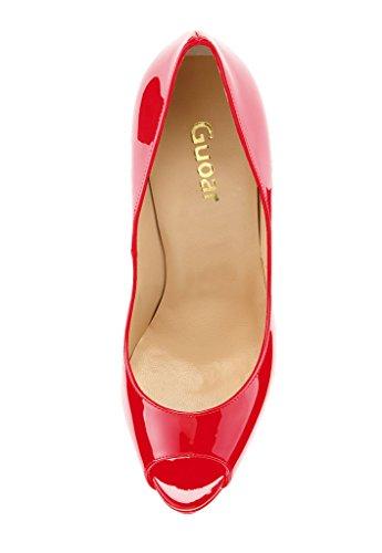 Guoar - Scarpe peep toe Donna, Rosso (rosso), 42