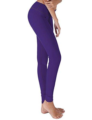 Yoga Reflex - Women's Workout Yoga Leggings Pants - Hidden Pocket, PURPLE, 2XL