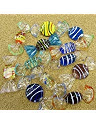 12 pcs Murano Art Glass Red Christmas Candy Candies Sweets Collectible Display