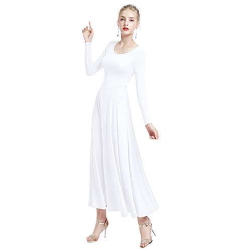IWEMEK Womens Liturgical Praise Loose Fit Full Length Long Sleeve Dance Dress Leotard Praisewear Dancewear Costume White XX-Large ()