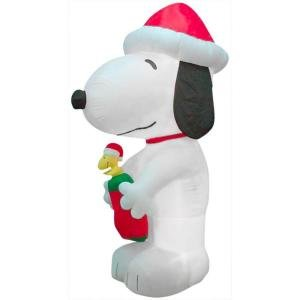 Gemmy 10 ft x 4.52 ft Lighted Inflatables Snoopy with Woodstock in Stocking Giant Peanuts Inflatable