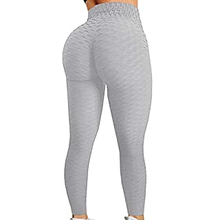 HURMES Women's High Waist Ruched Butt Lifting Booty Scrunch Anti Cellulite Workout Leggings Tummy Control Push Up Honeycomb Textured Tights Grey
