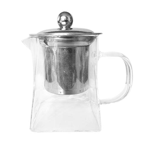 Fullfun 350ml Borosilicate Glass Teapot Heat Resistant Square Glass Teapot With Tea Infuser Filter Milk Oolong Flower Tea - Infuser Cast Square Iron