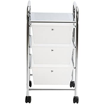 Finnhomy 3 Drawer Storage Organizer Utility Rolling Storage Cart with Drawers Multi-Purpose Drawer Studio Trolley