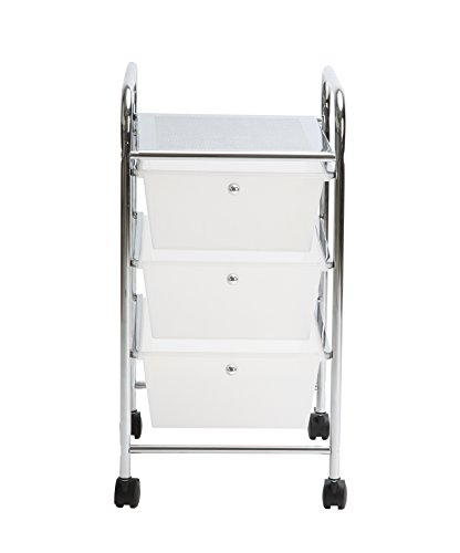 Finnhomy 3Drawer Rolling Cart Organizer,Storage Cart with Drawers, Utility Cart for School, Office, Home, Beauty Salon Storage, Semi-transparent White