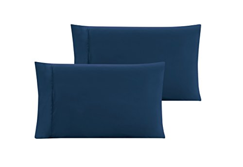 KING size Solid NAVY BLUE Pillow Cases 1500 Thread Count Egyptian Quality 2 piece set, Silky Soft & Wrinkle (Plus Free Sheet)