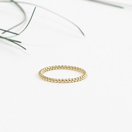 - 14K yellow gold plated bubbles & beads silver faceted stacking ring