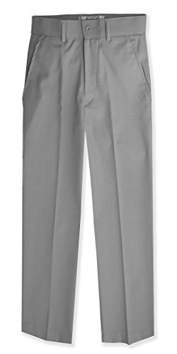 (Johnnie Lene Boys Flat Front Slim Fit Dress Pants #JL36 (7, Silver))