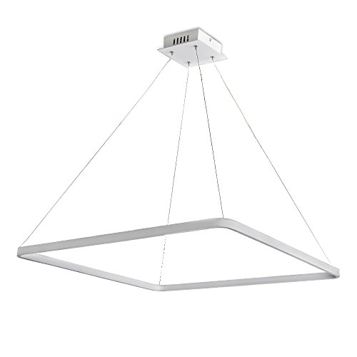 Modern Square LED Integrated Chandelier Lighting with Adjustable Hanging Light, Silver, Dining Room, Island, Kitchen Dia 25 Inch ()