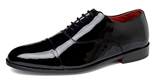 Shine Patent Leather Shoes - Carlos by Carlos Santana Men's Cap-Toe Tuxedo Oxford Dress Shoes - Black Calfskin Patent Leather (12 D(M) US / 11 UK, Black Calfskin Patent Leather)