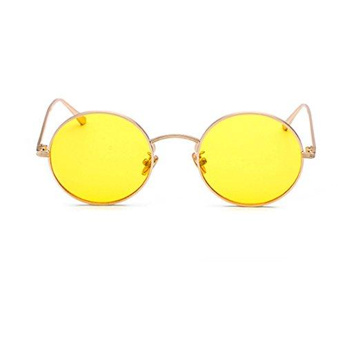 de sol metal vintage hombre Inlefen de Gafas Dorado y Gafas círculo mujer de de marco Amarillo redondo de para sol wvP4qR