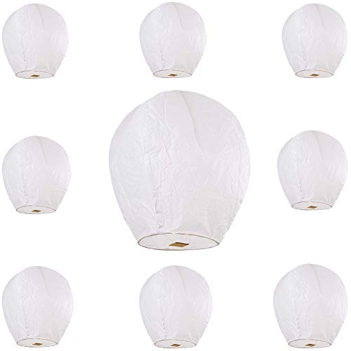 Maylai 10 Pack Sky Lanterns White Flying Paper Lanterns Chinese Wish Lanterns for Birthday Wedding Party Anniversary 100% Biodegradable Environmentally Friendly