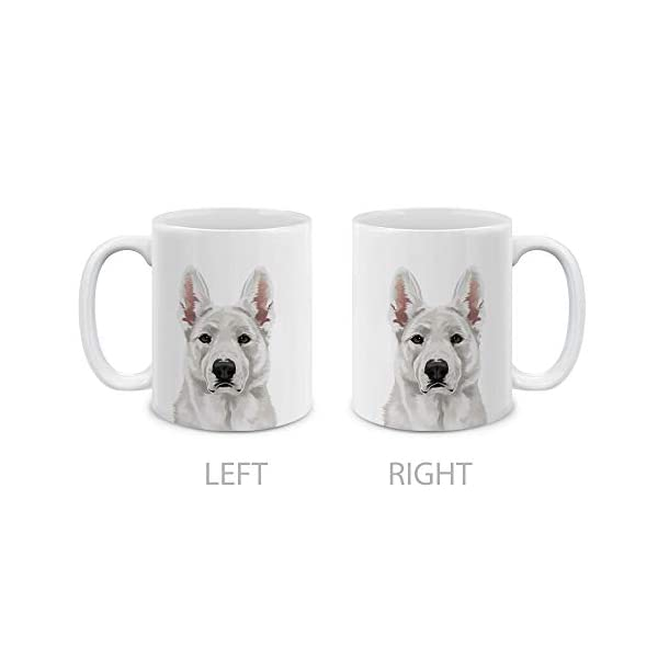MUGBREW Cute White German Shepherd Dog Full Portrait Ceramic Coffee Gift Mug Tea Cup, 11 OZ 2