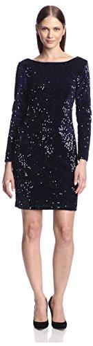 - Chetta B Women's Sequined Sheath Dress, Navy, 6 US