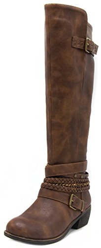 Sugar Women's Tia Tall Shaft Riding Boot with Buckles and Woven Wraparounds 9 Brown
