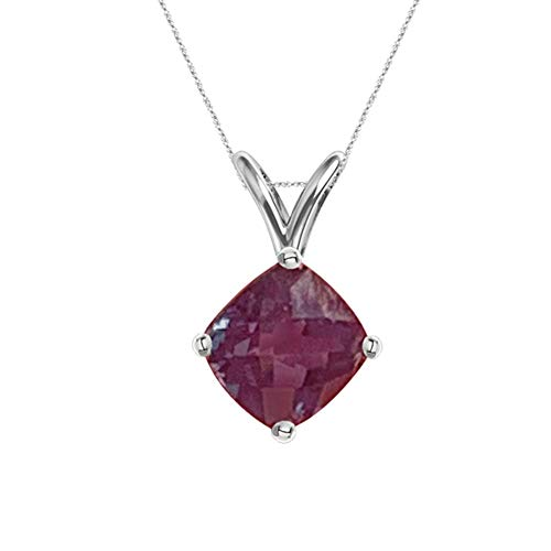 3.78-4.62 Cts of 9 mm AAA Cushion Checkered Lab Created Russian Alexandrite Solitaire Pendant in 14K White Gold