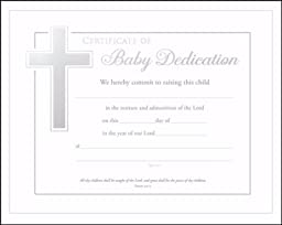 Baby Dedication Certificates (Isaiah 54:13) Pack of 6