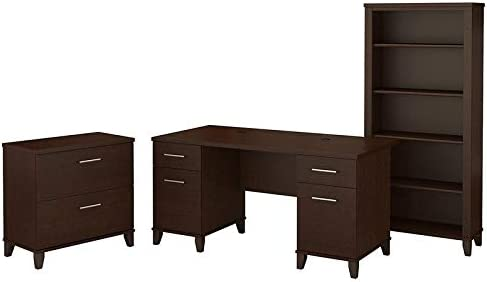 Scranton & Co Furniture Somerset 60W Office Desk w/Cabinet & Bookcase in Cherry
