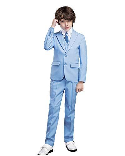 Classic Boys Blazer - Yanlu Boy's Suits Formal Dress Blazer Vest Pants Shirt and Tie Size 7 Blue