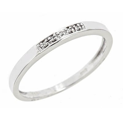 1/25 CT. T.W. Diamond Women's Wedding Band 14K White Gold- Size