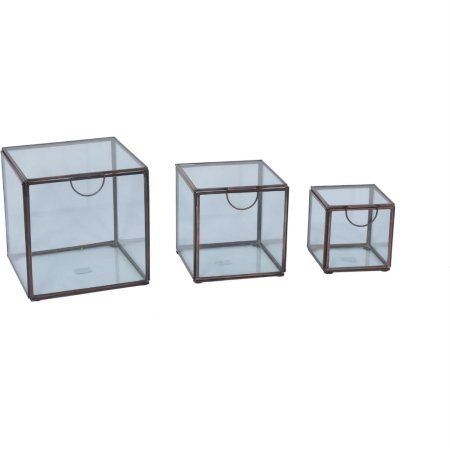 Renwil STA390 Toulon Decor - Eclectic Display Boxes in Antique Copper & Glass44; Set of 3