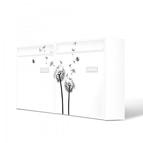 Burg-Wächter Briefkastenanlage, Design Bild Postkasten, Stahlblech weiß, MAIL 5877 W 72x32x10cm mit Motiv Pusteblume 2