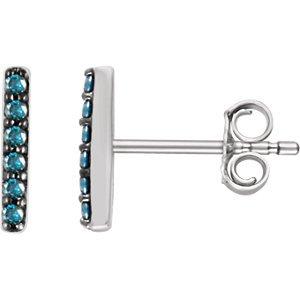 14K Boucles d'oreilles diamant bleu 1/10Barre verticale Blanc
