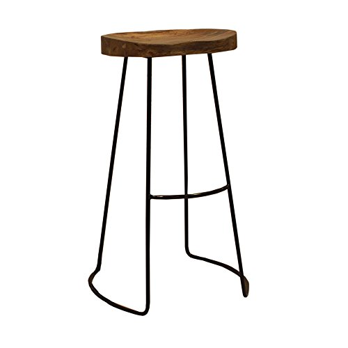 Colonial Bar (The Urban Port UPT-37900 Antique Colonial Classy Wooden Barstool with Iron Legs)