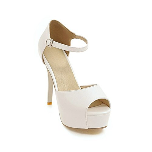 Women's Simple High Heel Wedge Sandals Peep Toe Ankle Strap Platform Party Pumps Dress (Ankle Strap Peep Toe Heels)