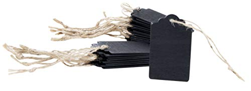 Mini Chalkboard Tags - 24-Piece Wooden Gift Tag Signs with Jute Ropes, Vintage Craft Hang Decorative Labels for Wedding, Birthday, Message Tags, DIY Kids Crafts, Party Favor, Black, 1.75 x 3 inches