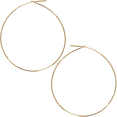 Humble Chic Round Hoop Earrings - Hypoallergenic Lightweight Wire Threader Loop Drop Dangles for Women, Safe for Sensitive Ears - Plated in 925 Sterling Silver or 18k Gold