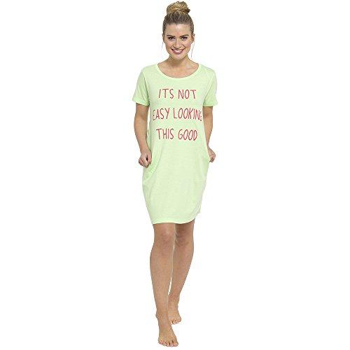 40 notte taglia da da camicia da 54 corte a scritte maglietta Dora Verde pigiama camicia donna con Lora lunghe notte maniche wUq4X4