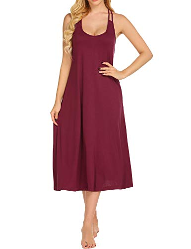 Ekouaer Long Nightgown Womens Sleeveless Halter Neck Strap Nightdress Nightwear Full Slip Sleep Dress ,Wine Red,Small -