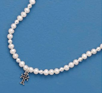 Cross Charm 4mm Cultured Freshwater Potato Pearls Sterling Necklace Child-Size 13+2 inch Ext