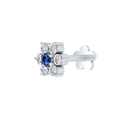 Animas Jewels DGLA Certified 14k White Gold Flower Stud Nose Pin for Women 0.05 Cttw Natural Diamond (G-H Color. SI1 Clarity) & Blue Sapphire Round 3-Prong Setting. Available 6 mm & 8 mm Length (6) ()