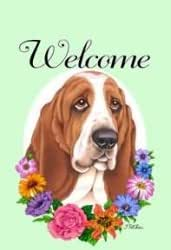 Basset Hound - Tomoyo Pitcher Welcome Flowers Flag: 28 x 40 inches