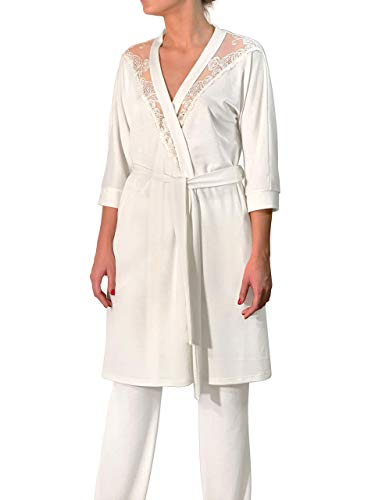 (Millesime Ladies Laced Bathrobe | Kimono dressing gown, Short Bathrobe with Lace, Luxury Robe Plus Size, Loungewear Pyjamas, Luxury Gifts for Women, Homewear Plus Size |Organic Merino Wool & Silk)