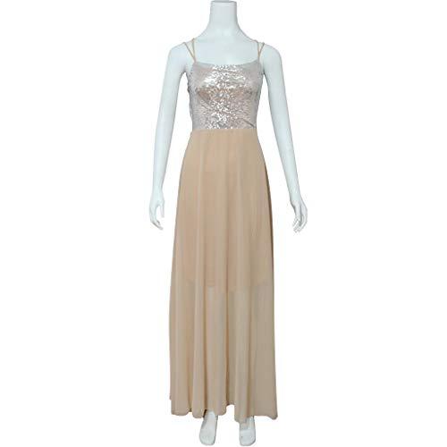 Vestido Correa Mujer Con De Largos Halter Gasa Sexy Elegantes Gris Absolute Largo Para Lentejuelas La Del ❤️ 2019 Fiesta Vestidos Dress Mujeres Verano 6xgEq6w