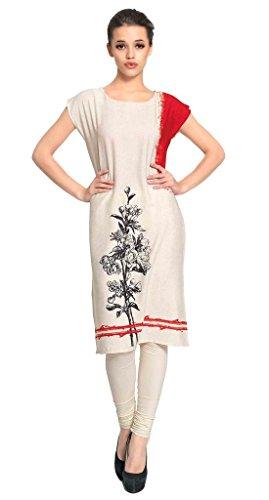 Vaamsi Women's Indian Tunic Top Polyester Kurti(PK1201_Off-White_XL)