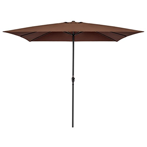 Best Choice Products 8x11FT Rectangular Patio Umbrella w/Crank, 210g Polyester (Brown)