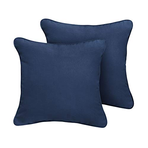 Canvas Navy Corded Decorative Indoor/Outdoor Square Throw Pillows, Perfect for Patio Décor - Canvas Navy Blue 16