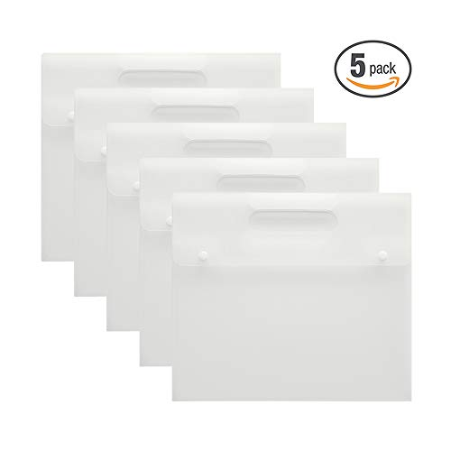VANRA Plastic Envelope Folder Pockets Poly File Jacket Flat Project Document A4 Letter Organizer with Handle, 2 Snap Button Closure (Translucent, Pack of 5) ()