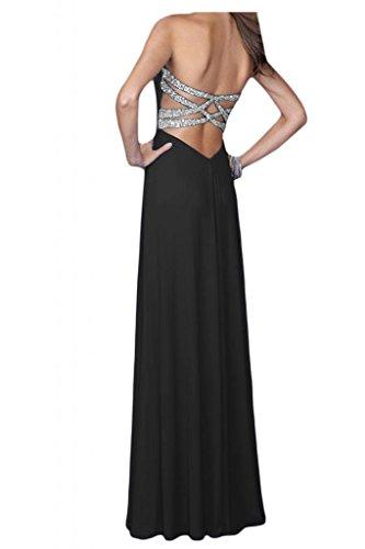 Diseño de la Toscana novia Empire Rueckenfrei por la noche vestidos de Gasa de dama de honor vestidos de bola de fiesta largo negro