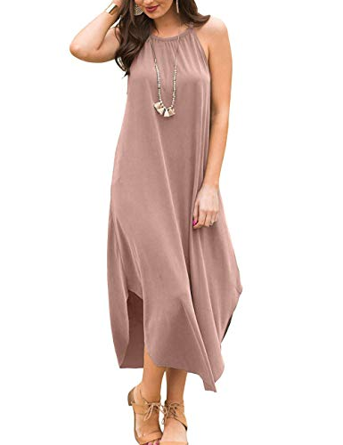 YiNai Halter Loose Beach Cover up Long Maxi Dress for Women Casual Summer Khaki S