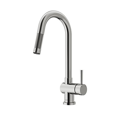 VIGO VG02008ST Gramercy 17 Inch Single Handle Pulldown Arc Brass Kitchen Sink Faucet, Single Hole Install, 360 Swivel Spout, Premium Seven Layer Plated Stainless Steel Finish (Kitchen Vigo Faucet)