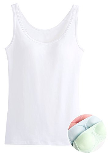 Tank Top Bra for Women Casual Summer Sport T Shirt White L Soft Shelf Bra