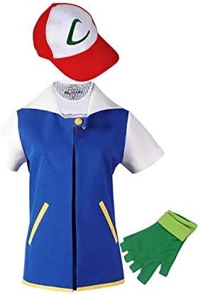 thematys Set de Disfraces de Ash Ketchum 3 Piezas para Hombre - Chaqueta, Sombrero y Guantes Carnaval y Cosplay - Talla única 165-180cm
