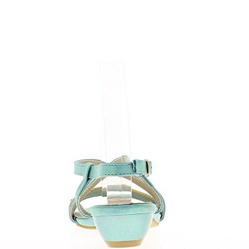 Salmón sandalias pequeño grueso tacón 3,5 cm con diamantes de imitación