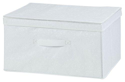 H & L Russel Ltd Set of 2 Medium Folding Box with Lid, White, 2-Piece WS3690M2
