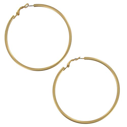 Pierced Earrings Matte Gold Tone Plain Hoop 2 3/4